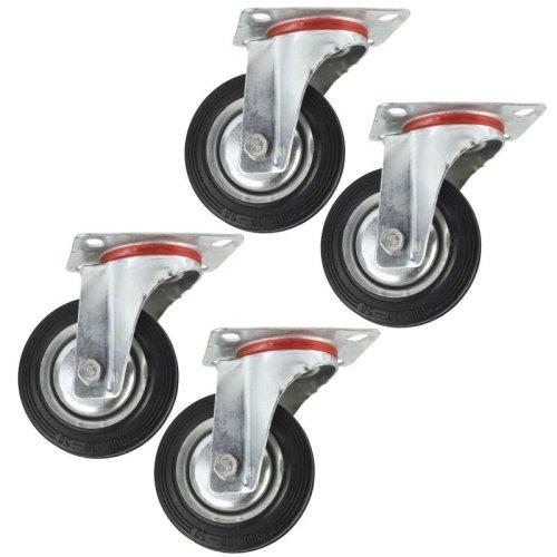 "4"" (100mm) Rubber Swivel Castor Wheels Trolley Furniture Caster (4 Pack) CST04"