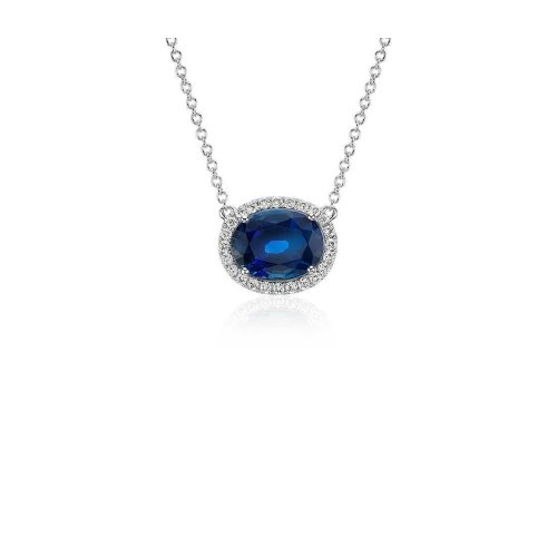 Ceylon Blue Sapphire Pendant Oval Cut Round Diamond Gold 14K 2.5 Ct