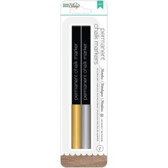DIY Shop 2 Permanent Chalk Markers 2/Pkg-Gold & Silver/Broad Tip