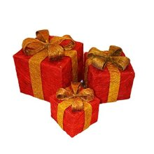 Set Of Three Battery Operated Light Up Red Christmas Gift Boxes -