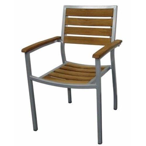 Robin Teak Aluminium Outdoor Stackable Garden Chairs Set of 4