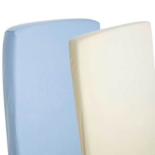 2x Cot 100% Cotton Jersey Fitted Sheet 120cm x 60cm 1x Cream & 1x Blue