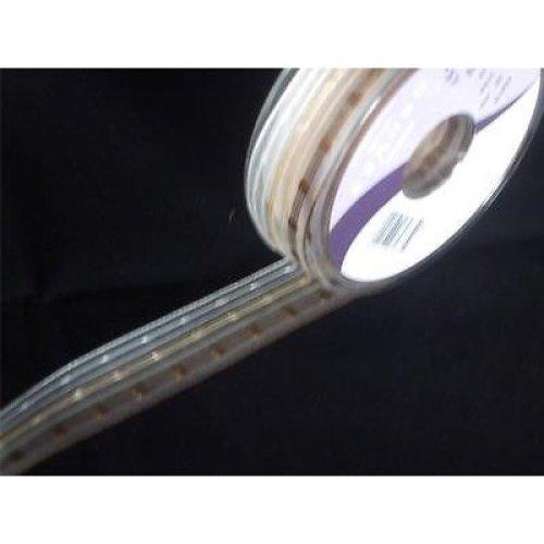 2m of Berisfords Brown Stripe Ribbon - 25mm wide