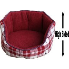 """Dog Bed Thick Red Chequered Material Fleece 30"""""""