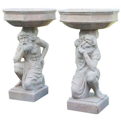 Marble Statues W74xdp74x130 Cm Sized Each Pair