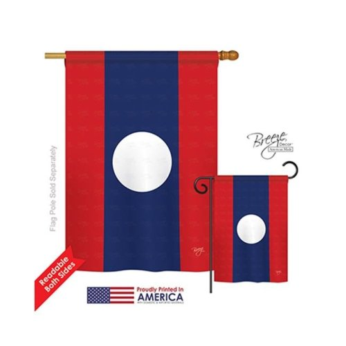 Breeze Decor 08262 Laos 2-Sided Vertical Impression House Flag - 28 x 40 in.