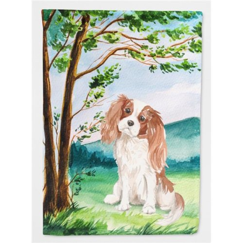 Carolines Treasures CK2020CHF Under the Tree Blenheim Cavalier Spaniel Flag Canvas House Size