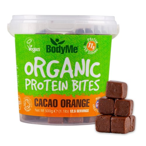 BodyMe Organic Vegan Protein Bites | Raw Cacao Orange | 500g (12.5 x 40g Servings) | with 3 Plant Proteins