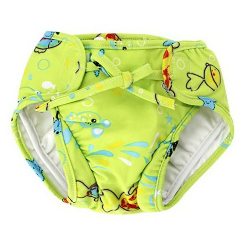 Baby Swim Trunks 0-3 Infants Cartoon Swimsuit Leakproof Swim Shorts, Grass Green