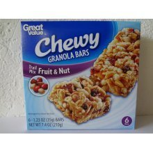 Great Value Chewy Granola Bars,Fruit & Nut 6 ct-1.23 oz (35 g)