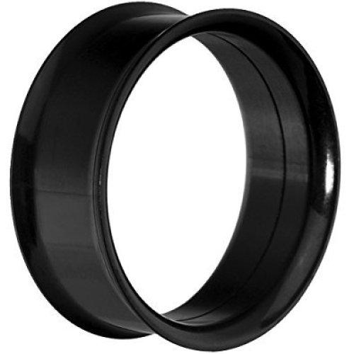 Black Titanium Plated Surgical Steel Double Flared Flesh Tunnel Ear Saddle Plug Earring