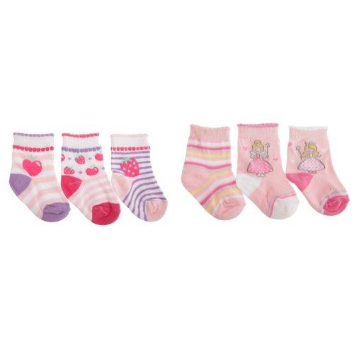 Baby Girls Fruit/Fairy Design Scallop Trim Socks (Pack Of 3)