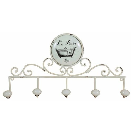 "Wrought Iron Made Antiqued White Finish ""le Bain"" W48xdp6xh26 Cm Sized Coat Hook Wall Art"