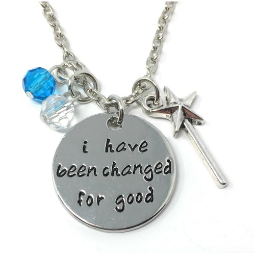 Silver-Tone 'I Have Been Changed For Good' Engraved Pendant Necklace 2.2cm Diameter With 18 Inch Chain Wicked Wand