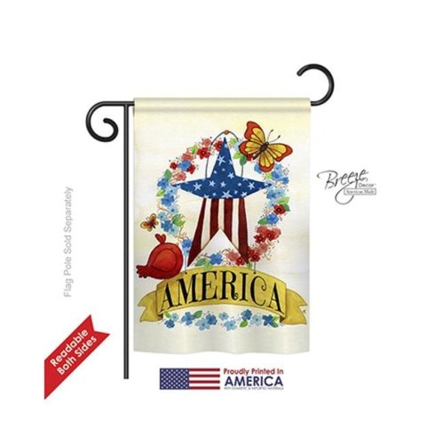 Breeze Decor 61073 Patriotic America Banner Star 2-Sided Impression Garden Flag - 13 x 18.5 in.