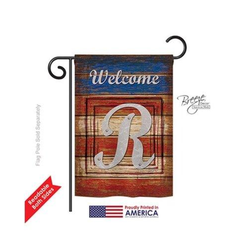 Breeze Decor 80122 Patriotic R Monogram 2-Sided Impression Garden Flag - 13 x 18.5 in.