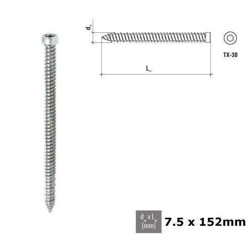 CONCRETE FRAME WINDOW SCREWS PAN HEAD 7.5 x 152mm Galvanized PCS 010