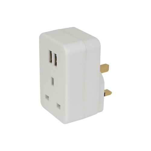 Plug through UK Mains Adaptor with Dual USB Ports