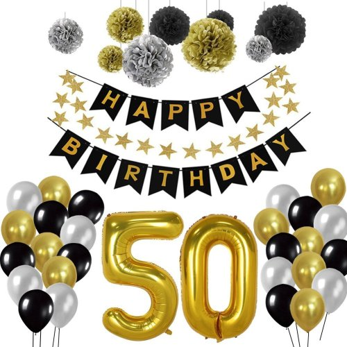 50th Birthday Party Decorations Kit Gold Number 50 Ballon 30pcs Black Silver And Latex 9pcs Tissue Paper Pom Poms For Years Old On