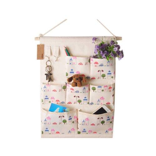 7-Pockets Zakka Wall Door Closet Hanging Storage Magazine Organizer Case, B