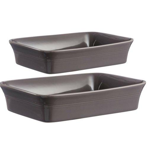 Mason Cash Set of 2 Large Stoneware Rectangle Oven Dish Dark Grey Baking Tray