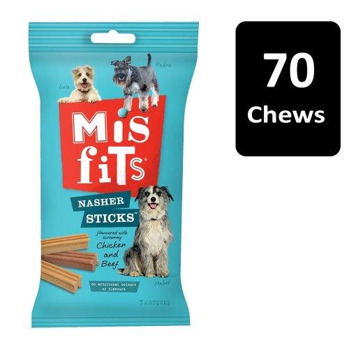 MISFITS Nasher Sticks Medium Dog Treats With Chicken & Beef 10x175g