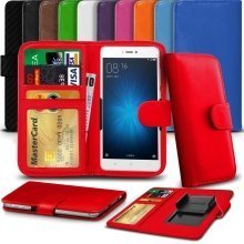 "iTronixs - HomTom HT37 (5"") High Quality Clamp Style PU Leather Wallet Case Cover"