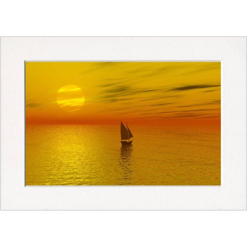 Sailing Yacht Orange Sunset Sea Print in a Textured Card Picture Mount to put into your own frame