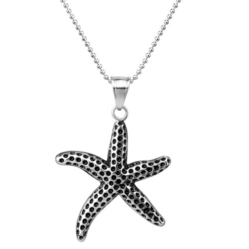 Urban Male Nautical Stainless Steel Starfish Pendant for Men with 24in Chain