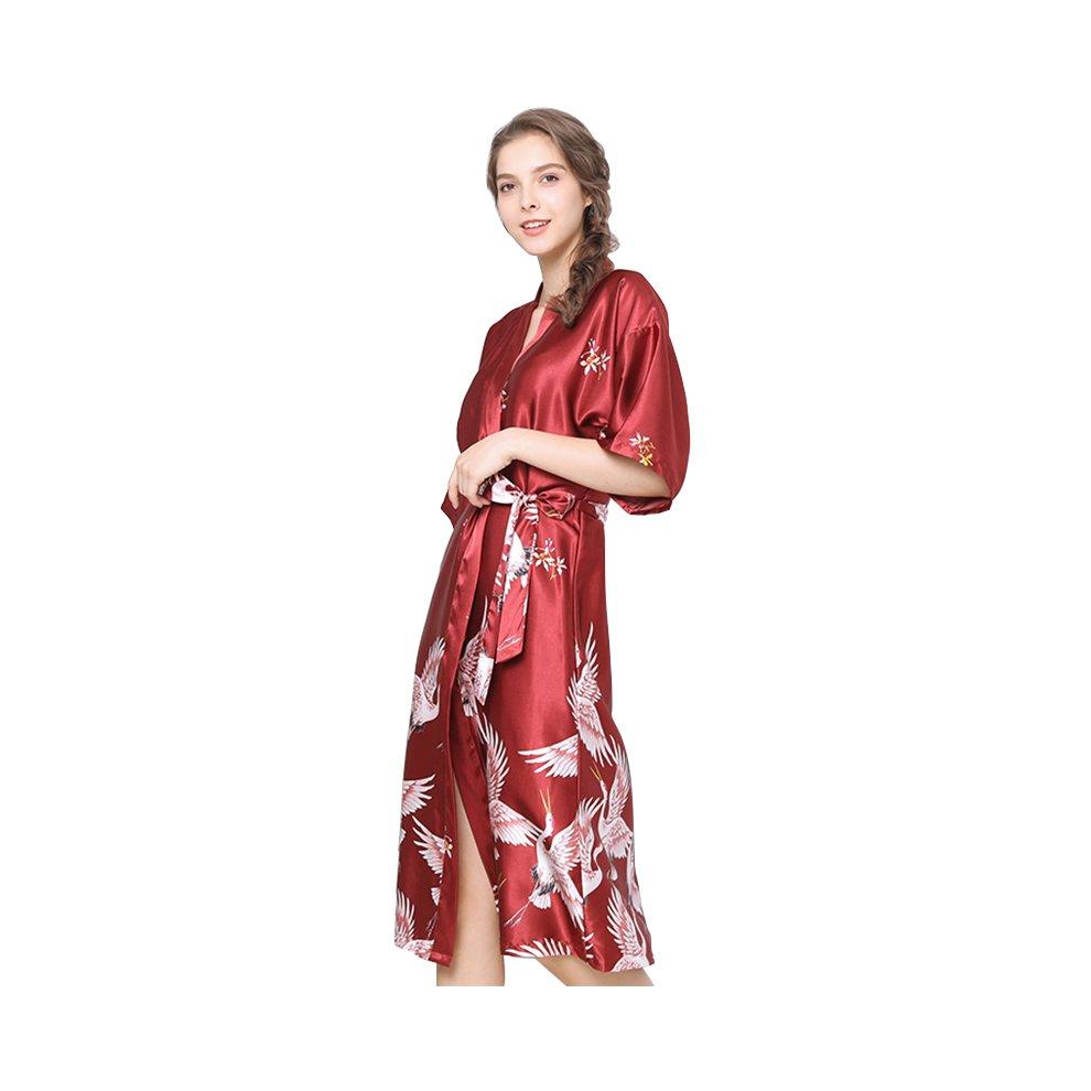 Ulily Ladies Silk Satin Dressing Gown Long Kimono Robe On
