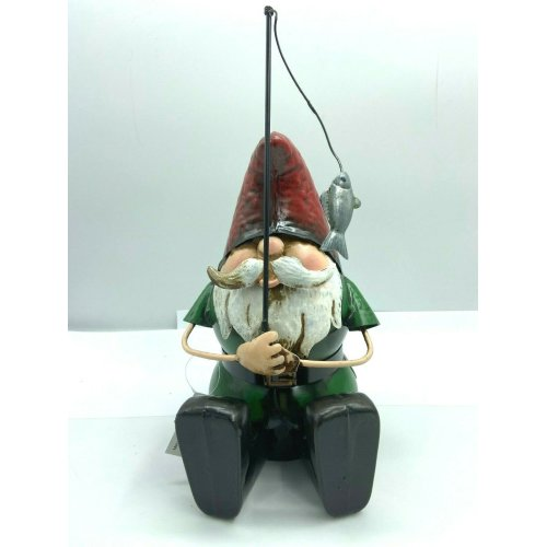 Hand Painted Metal Garden Gnome with Fishing Rod Ornament Gift Sculpture