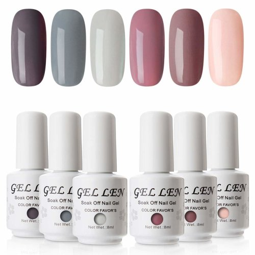 Gellen Gel Nail Polish Set - Nude Gray Colours Gel Polish, Soak off ...