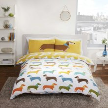 Sausage Dog Multi Coloured Reversible Duvet Set