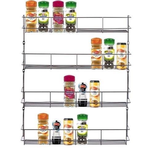 Chrome 4 Tier 32 Jars Spice Herb Jar Rack Holder For Home Kitchen Door Cupboard Storage or Wall Mountable