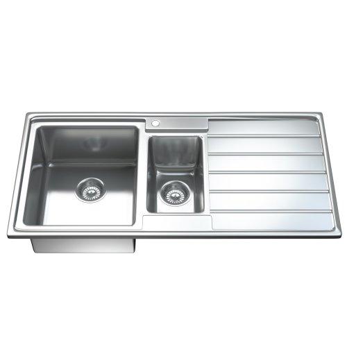 1541 1.5 One & Half Bowl Stainless Steel Kitchen Sink, Drainer & Waste