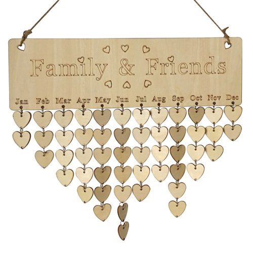 ULTNICE Family Friends Birthday Reminder Calendar Wooden Plaque Board with Tags for Home Decoration
