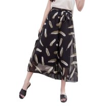 Elegant Summer Thin Pants Floral Print Women Loose Slacks Beach Clothing, #05
