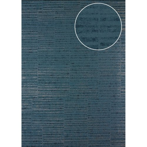 Atlas 24C-5056-1 Stripes wallpaper metallic highlights blue-grey 7.035 sqm