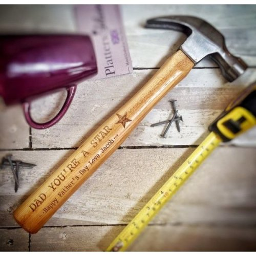 Personalised Father's Day Wooden Claw Hammer 33cm | Engraved Hammer