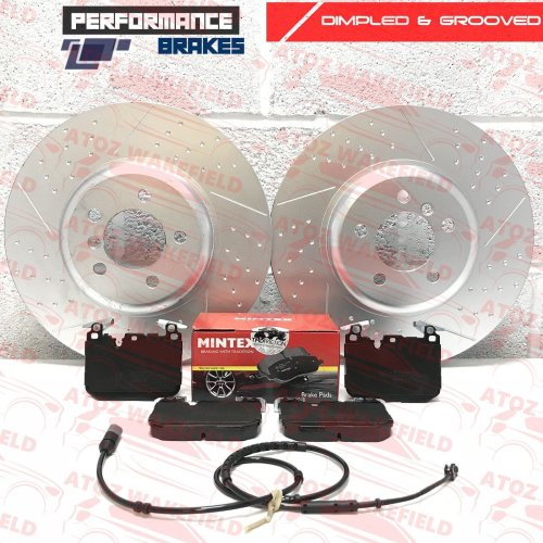 FOR BMW 335d 330d M SPORT FRONT DIMPLED GROOVED BRAKE DISCS MINTEX PADS WIRE 370