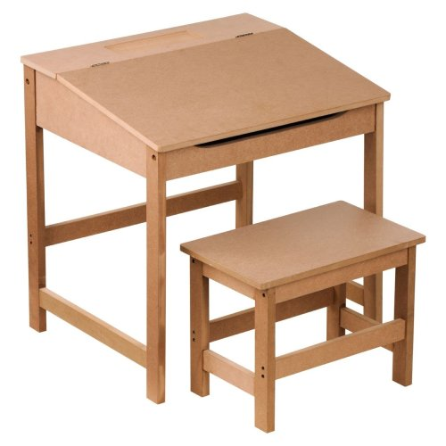 Children'S Desk And Stool Natural Sturdy MDF Suitable For Kids Room