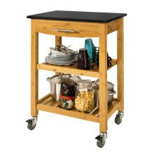 SoBuy® FKW28-SCH, Bamboo Kitchen Storage Trolley with Black Granite Countertop
