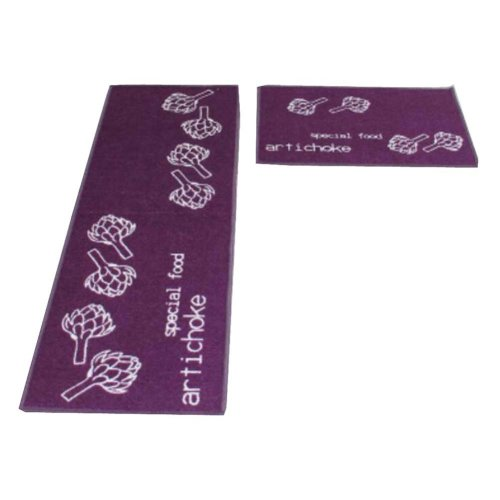 Set of 2 Elegant Pattern Kitchen Mat Bibulous And Skidproof Room Mat Purple
