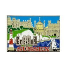 Sussex Montage Foil Stamped Fridge Magnet Souvenir Gift Scenes Collage Brighton
