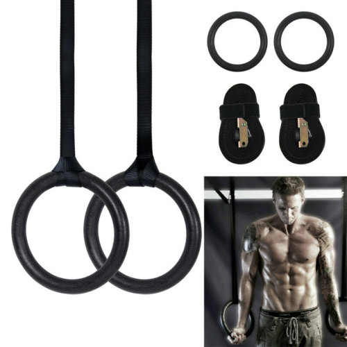 2 Adjustable Olympic Gymnastic Rings Crossfit Gym Strength Fitness Training