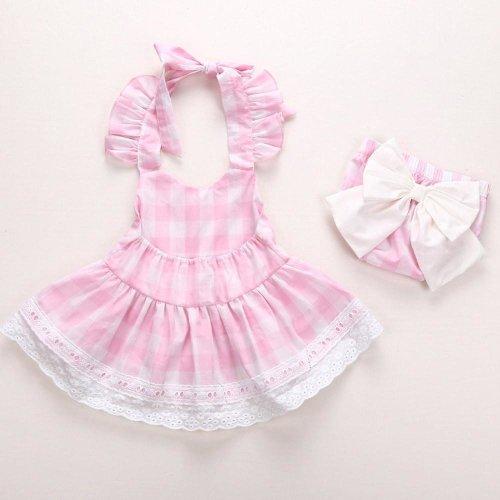 Children girls dress Summer 2017 Newborn Infant Baby Girls Princess Bowknot Lace Dress+Shorts Clothes Outfits Drop ship