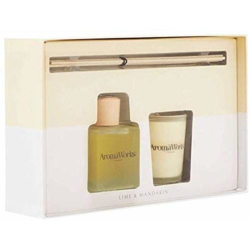 AromaWorks Lime and mandarin reed diffuser and scented candle set