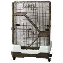 Chinchilla, Rodent Cage Three Tier Brown On Wheels