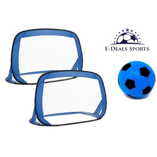 E-Deals Pop-Up Football Goals + One E-Deals 17.5cm Blue Foam Football