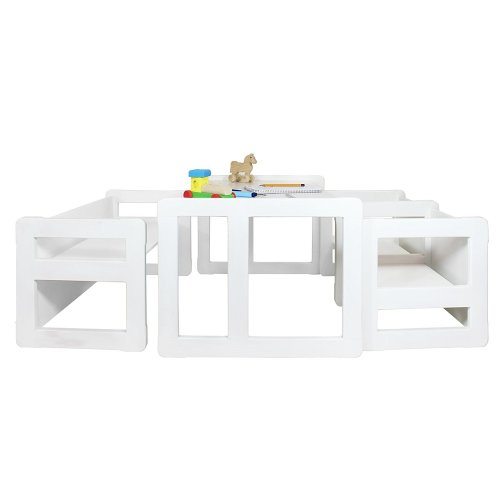 Obique Multifunctional Furniture: 1 Table, 2 Chairs & 1 Bench, White